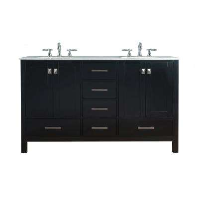 High Quality Vanity In Espresso With Marble Vanity Top In Carrara White