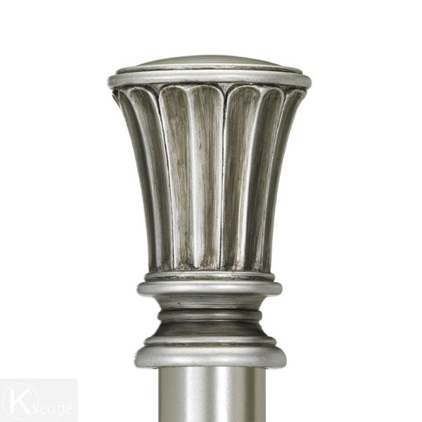 Pewter Pedestal Finials Adjustable Curtain Rod With Hardware