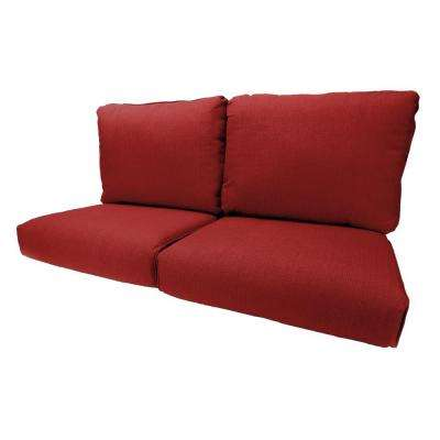Woodbury 19 x 26 Outdoor Loveseat Cushion in Standard Chili