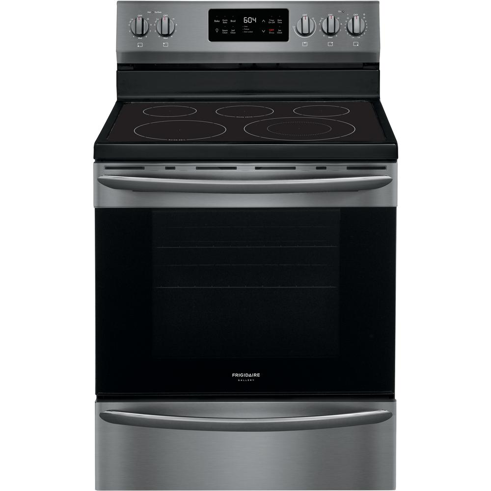 FRIGIDAIRE GALLERY 30 in. 5.4 cu. ft. Freestanding Electric Range with Steam Clean in Black Stainless Steel