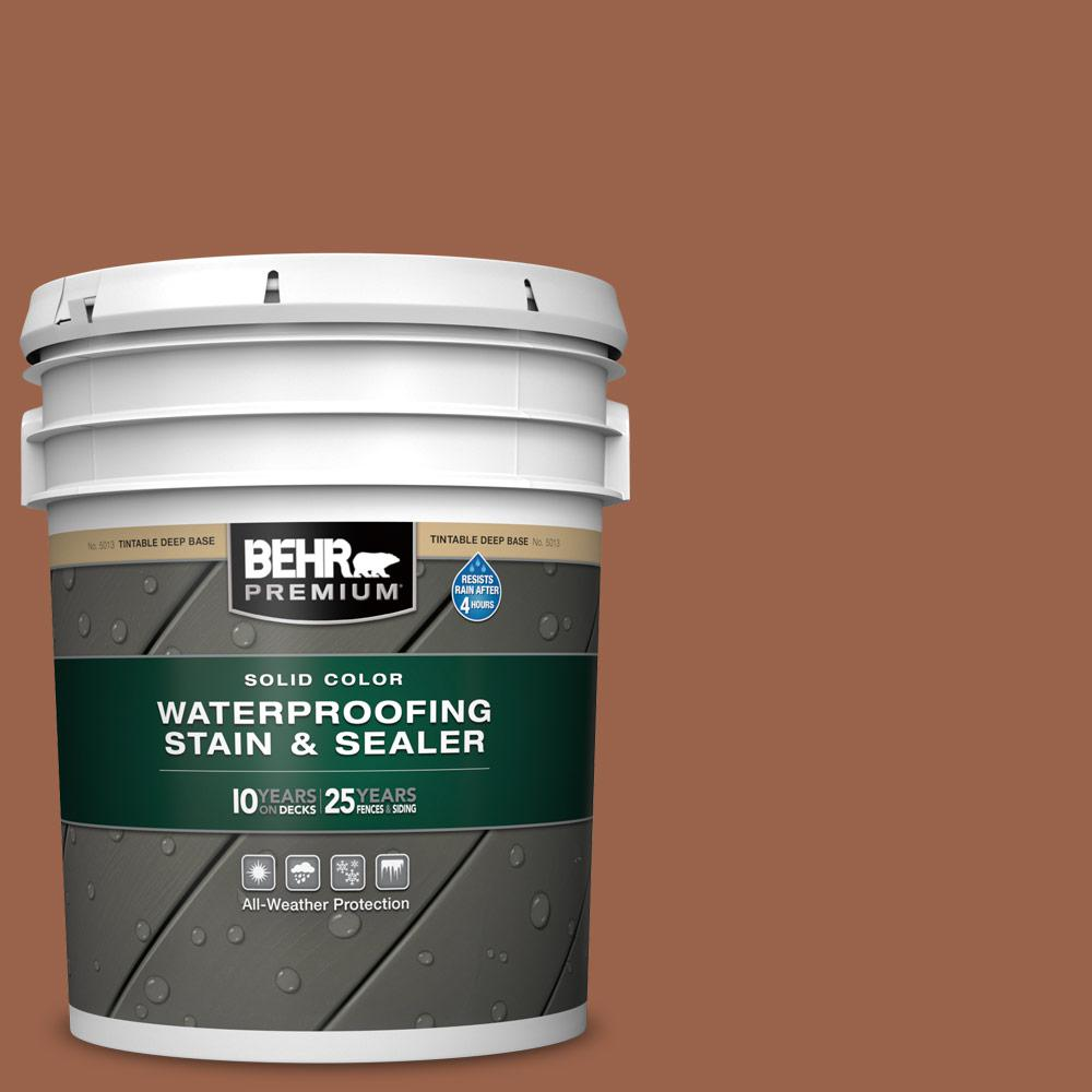 BEHR PREMIUM 5 gal. #SC-122 Redwood Naturaltone Solid Color Waterproofing Exterior Wood Stain and Sealer