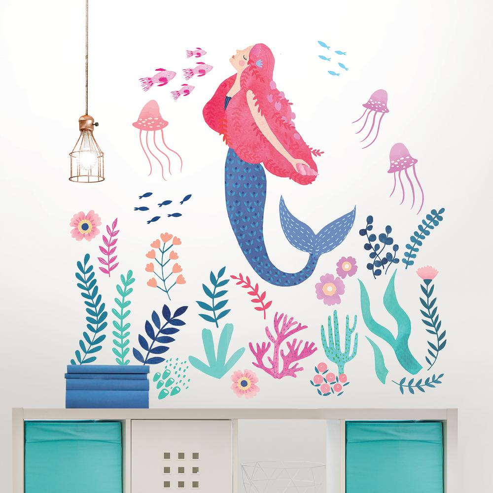 Wallpops Let's Be Mermaids Wall Art Kit, Multi Color