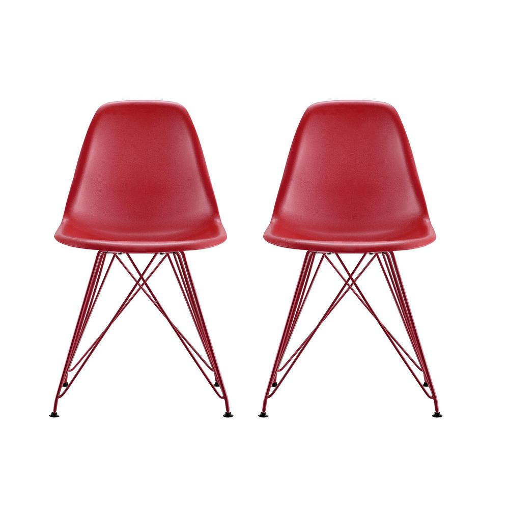 Dhp Evelyn Red Mid Century Modern Molded Chair With Colored Leg Set Of 2
