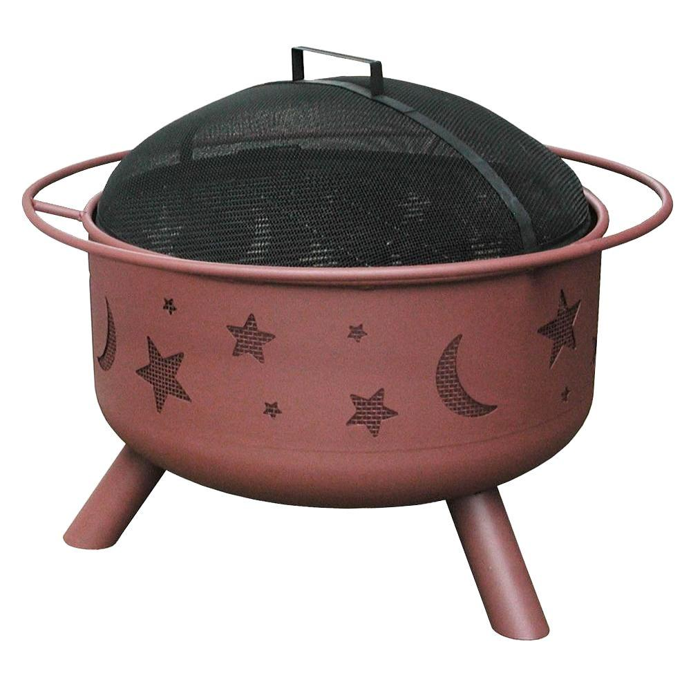 LANDMANN 24 in. Big Sky Stars and Moons Fire Pit in Georgia Clay with Cooking Grate
