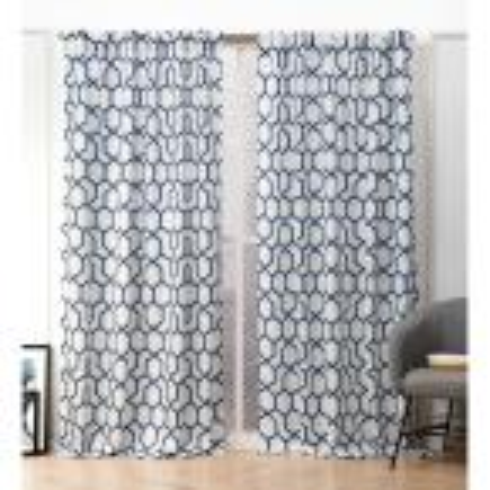 Hexa Indigo Blue  Room Darkening Hidden Tab Top Curtain Panel - 54 in. W x 84 in. L  (2-Panel)
