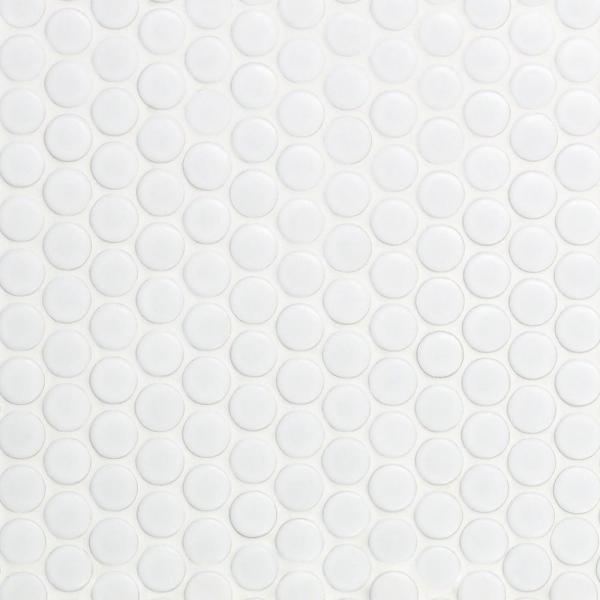 Bliss Penny Round White 12 in. x 12 in. x 10 mm Matte Ceramic Wall Tile