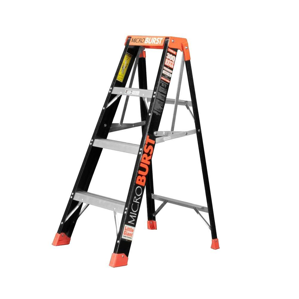 MicroBurst 4 ft. Fiberglass Step Ladder with 300 lb. Load Capacity