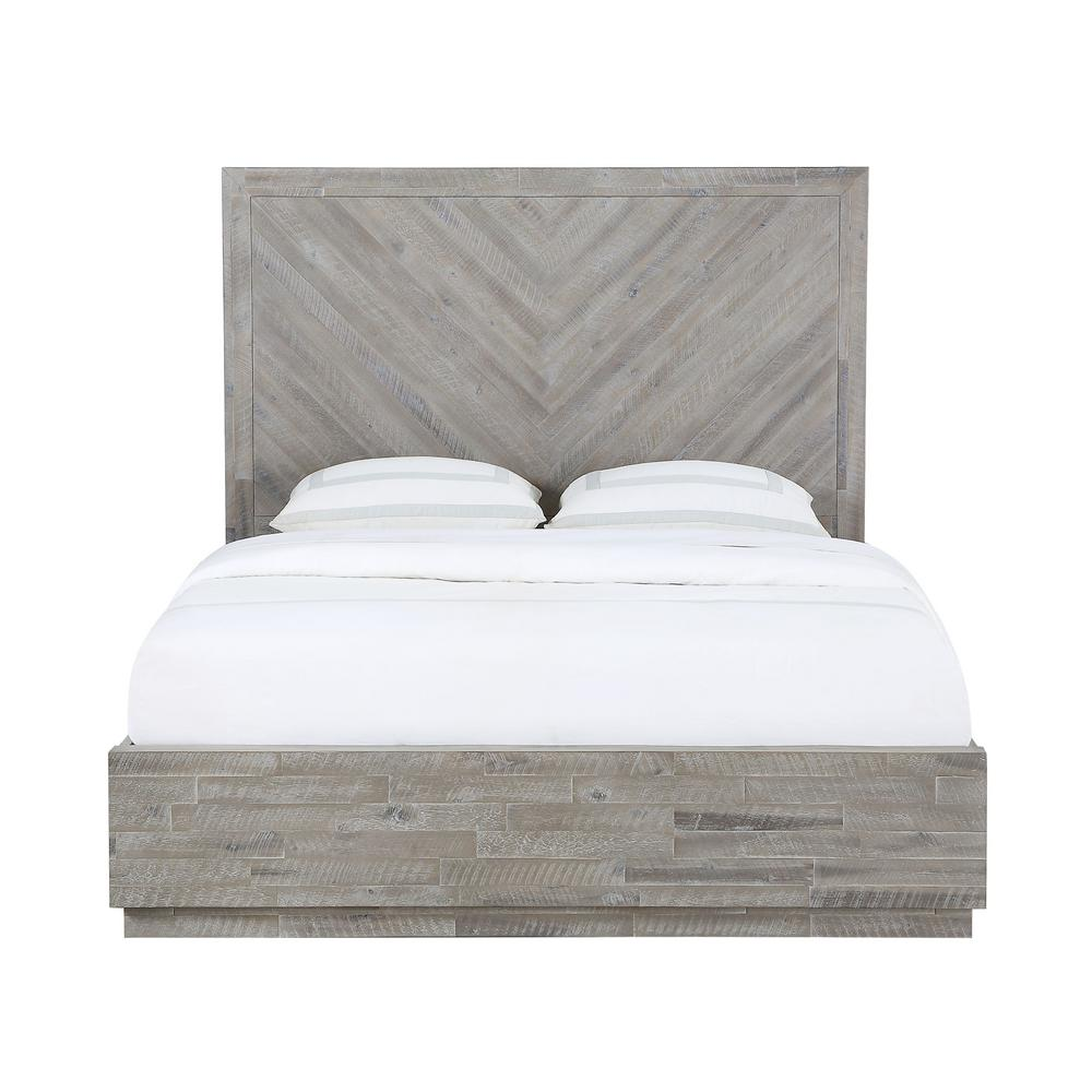 Alexandra Light Wood Rustic Latte King Storage Bed with Hidden Footboard Drawers