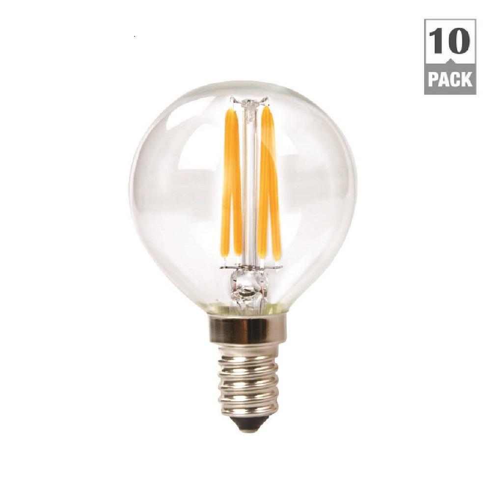 TriGlow 40-Watt Equivalent G16.5 Globe Dimmable Clear Glass Filament LED Light Bulb Warm White 2700K (10-Pack)