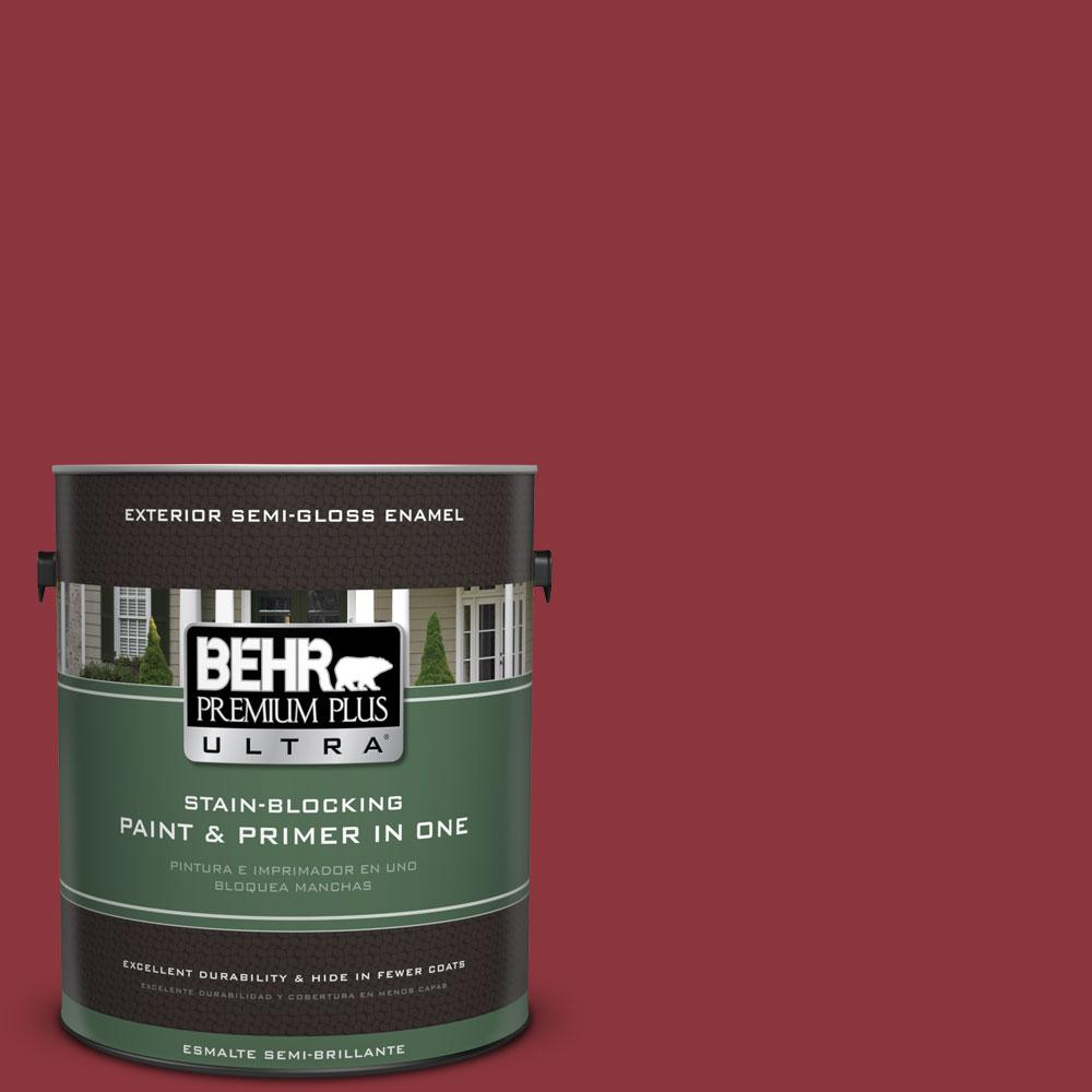 BEHR Premium Plus Ultra 1-gal. #S-G-140 Cherry Cobbler Semi-Gloss Enamel Exterior Paint
