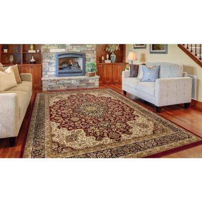 Silk Road Red 7 ft. x 10 ft. Medallion Area Rug