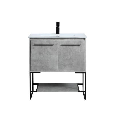 Timeless Home 30 in. W x 18.31 in. D x 33.46 in. H Single Bathroom Vanity in Concrete Grey with Porcelain