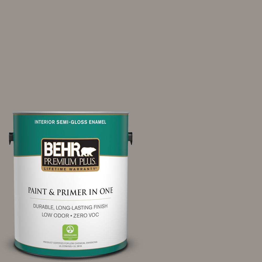 1 gal. #PPU18-16 Elephant Skin Zero VOC Semi-Gloss Enamel Interior Paint
