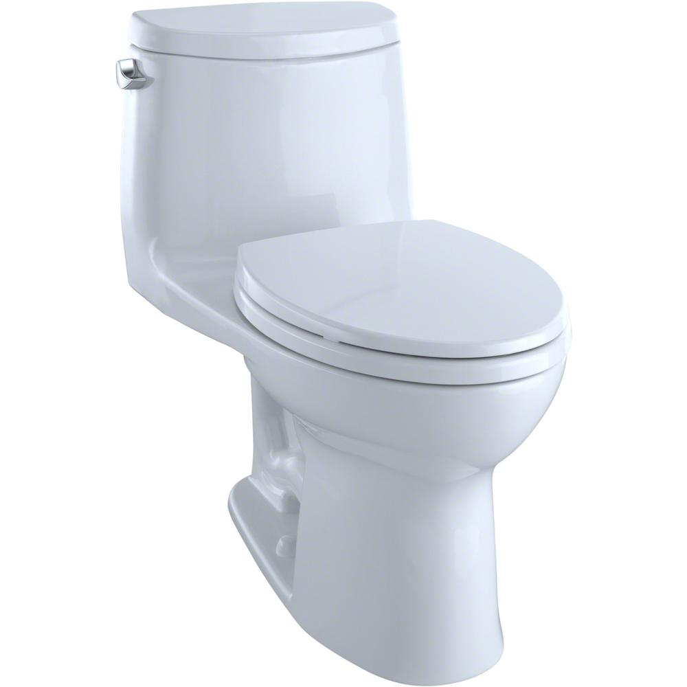 TOTO UltraMax II 1-Piece 1.28 GPF Single Flush Elongated Toilet with CeFiONtect in Cotton White