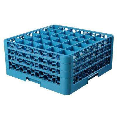 19.75x19.75 in. 36-Compartment 3 Extenders Glass Rack (for Glass 4.19 in. Diameter, 7.94 in. H) in Blue (Case of 2)