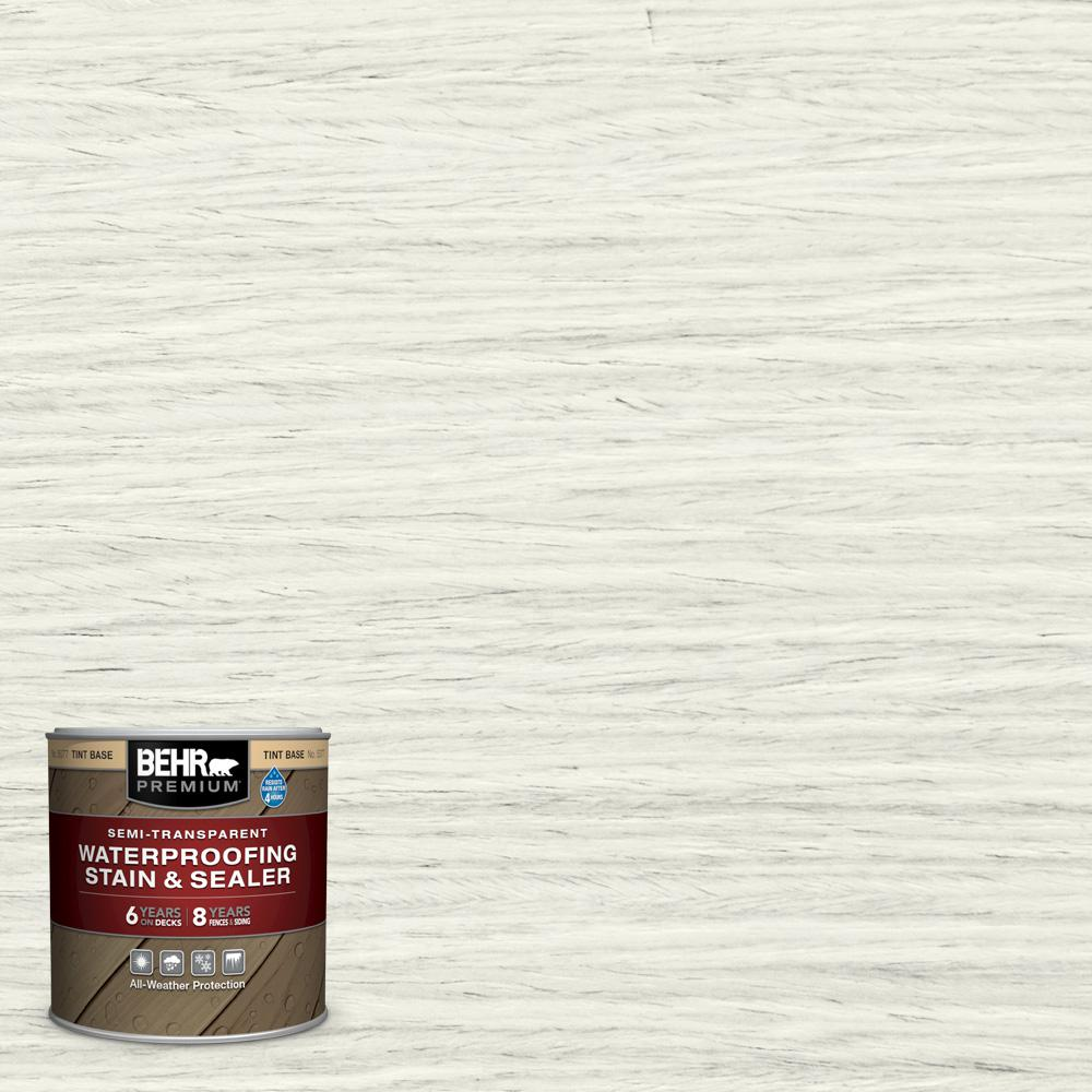 BEHR Premium 8 oz. #ST-337 Pinto White Semi-Transparent Waterproofing Exterior Wood Stain and Sealer Sample