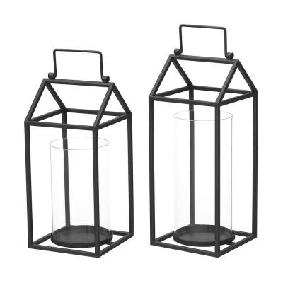 StyleWell Black Metal and Glass Candle Hanging or Tabletop Lantern (Set of 2)