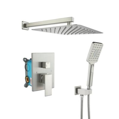 3-Spray with 2.5 GPM 12 in. 2 Functions Tub Wall Mount Dual Shower Heads in Spot in Brushed Nickle (Valve Included)