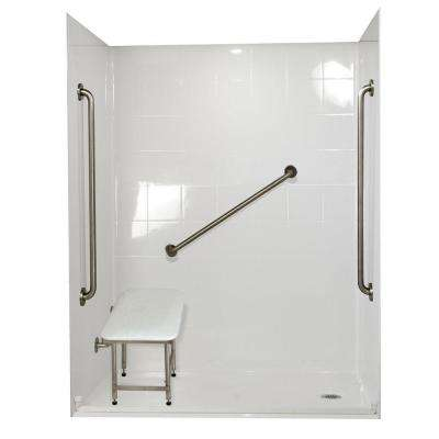 Standard Plus 36 37 in. x 60 in. x 78 in. Barrier Free Roll-In Shower Kit in White with Right Drain