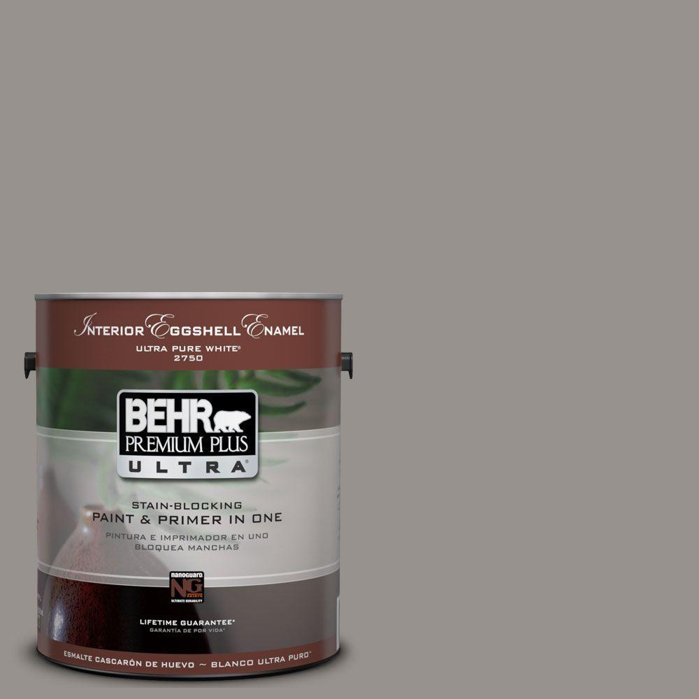 BEHR Premium Plus Ultra 1 gal. #UL260-5 Elephant Skin Eggshell Enamel Interior Paint and Primer in One