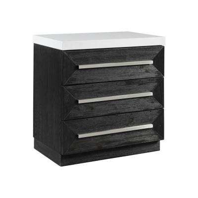 Grace 3-Drawer Black Nightstand