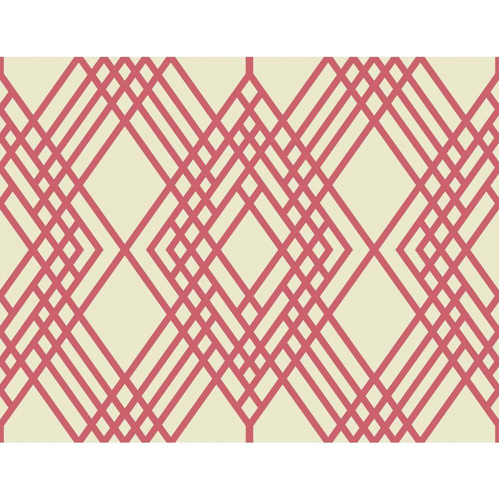 Cayman Pink and Off-White Diamond Lattice Wallpaper