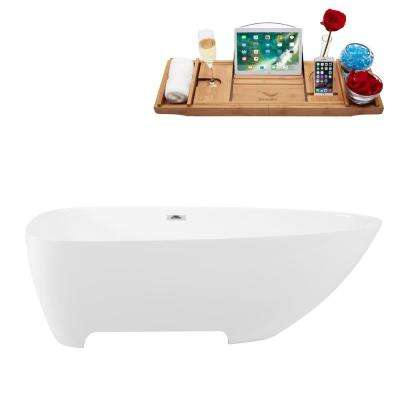 66.9 in. Solid Surface Resin Flatbottom Non-Whirlpool Bathtub in White