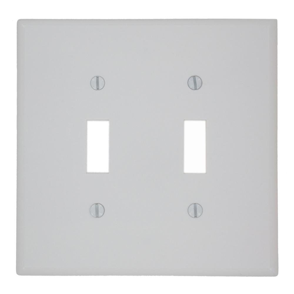 2-Gang Toggle Switch Wall Plate, White