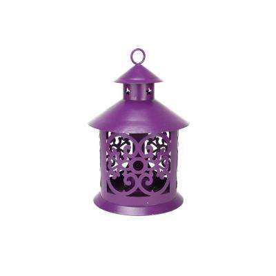 8 in. Shiny Purple Votive or Tealight Candle Holder Lantern with Star and Scroll Cutouts