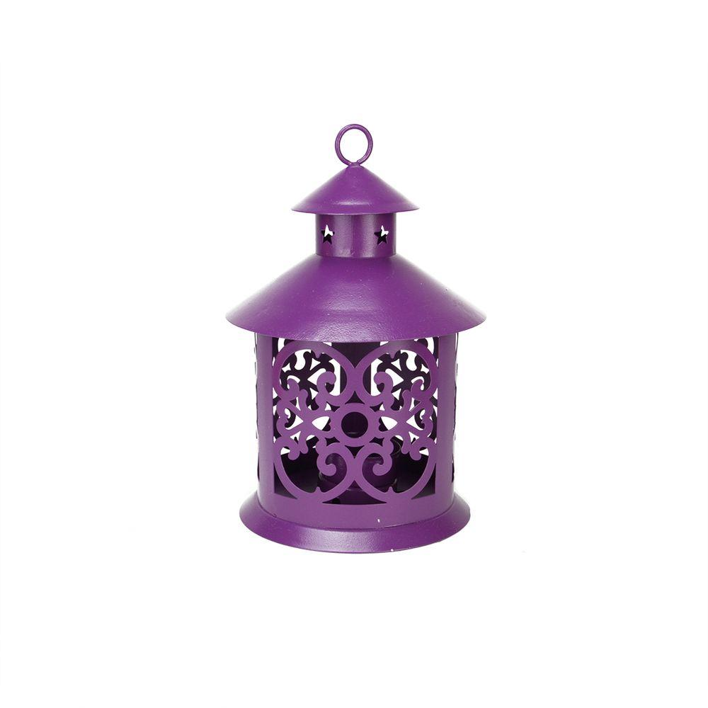 8 in. Shiny Purple Votive or Tealight Candle Holder Lantern with Star and Scroll Cutouts, Purples / Lavenders