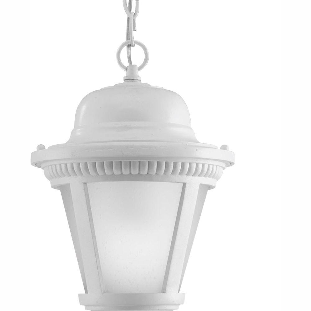 Westport Collection 1-Light Outdoor White LED Hanging Lantern