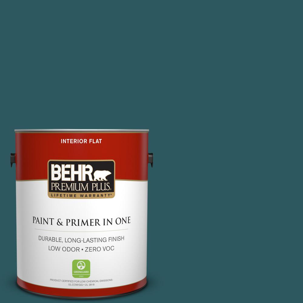 BEHR Premium Plus 1-gal. #S-H-510 Moonlit Pool Zero VOC Flat Interior Paint