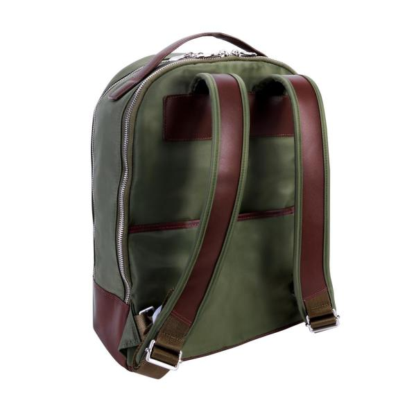 Mckleinusa Mcklein Parker Nano Tech Light Nylon With Leather Trim 15 In Dual Compartment Laptop Backpack Green 18551 18551 The Home Depot