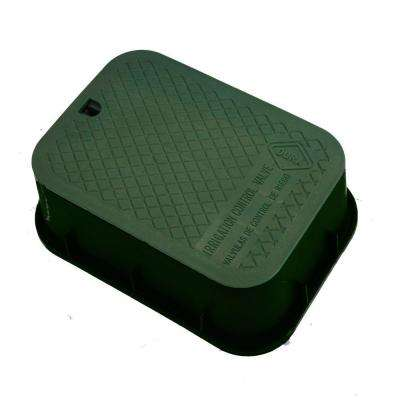 15 in. x 21 in. x 6 in. Deep Extension Valve Box in Green Body Green Lid