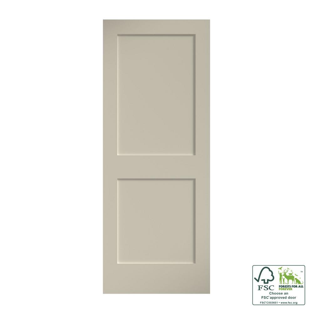 30 x 80 Left Hand Prehung Interior Door National Door Company ZZ09480L Solid Core Molded 2-Panel Arch Top