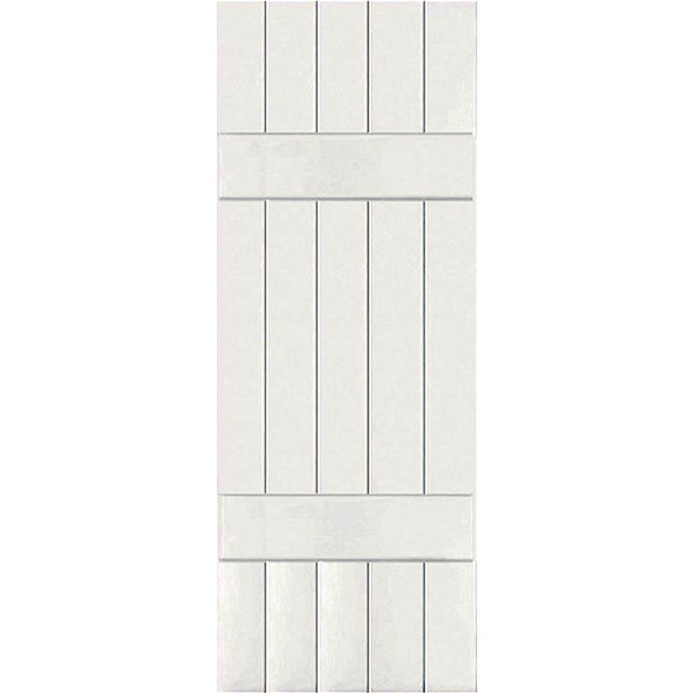 Ekena Millwork 18 in. x 48 in. Exterior Composite Wood Board and Batten Shutters Pair White