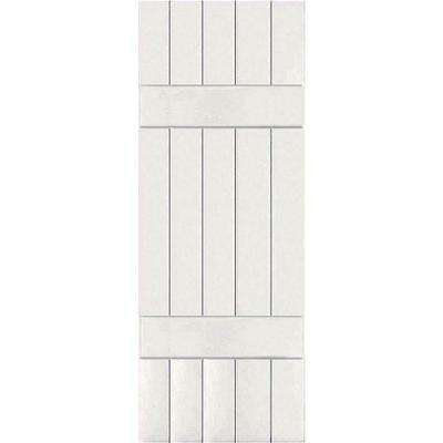 18 in. x 77 in. Exterior Composite Wood Board and Batten Shutters Pair White