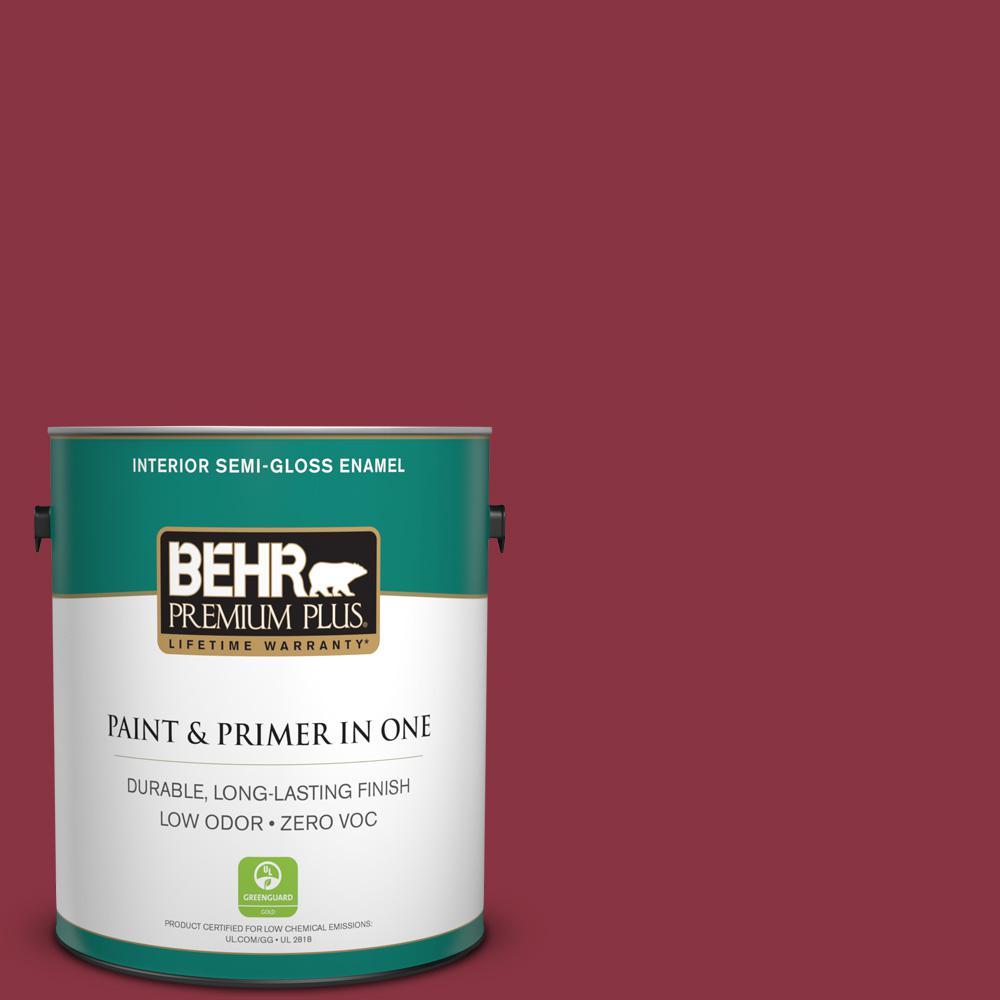 1 gal. #PPU1-10 Forbidden Red Zero VOC Semi-Gloss Enamel Interior Paint