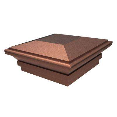 5 in. x 5 in. Vinyl Antique Copper Contemporary Fence Post Top