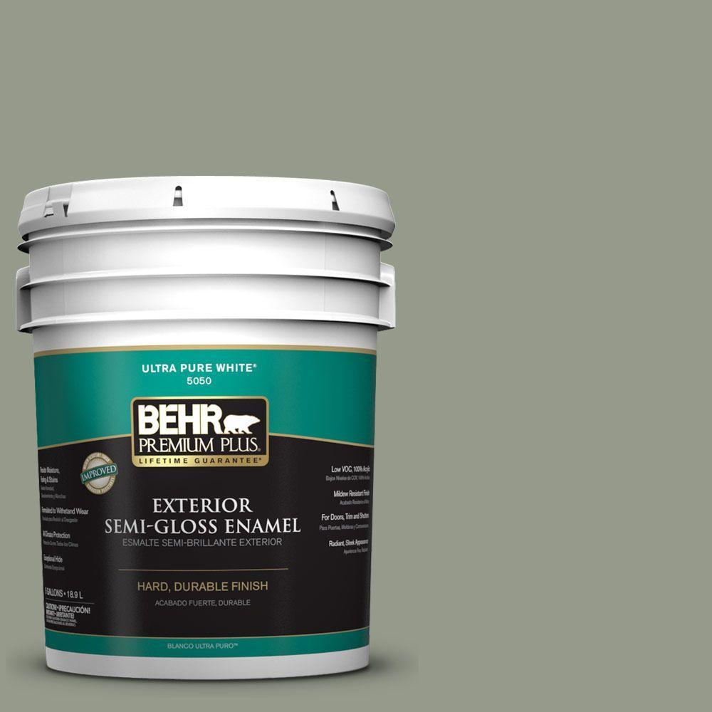 BEHR Premium Plus 5-gal. #PMD-56 Laurel Leaf Semi-Gloss Enamel Exterior Paint