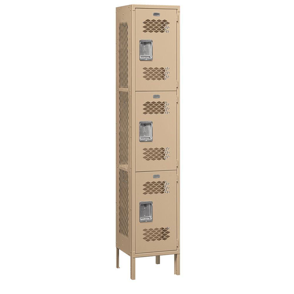 Salsbury Industries 83000 Series 15 in. W x 78 in. H x 15 in. D 3-Tier Extra Wide Vented Metal Locker Unassembled in Tan