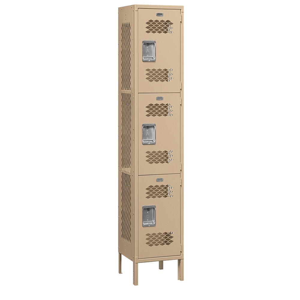 Salsbury Industries 83000 Series 15 in. W x 78 in. H x 15 in. D 3-Tier Extra Wide Vented Metal Locker Unassembled in Tan