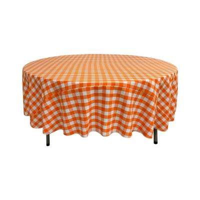 90 in. White and Orange Polyester Gingham Checkered Round Tablecloth