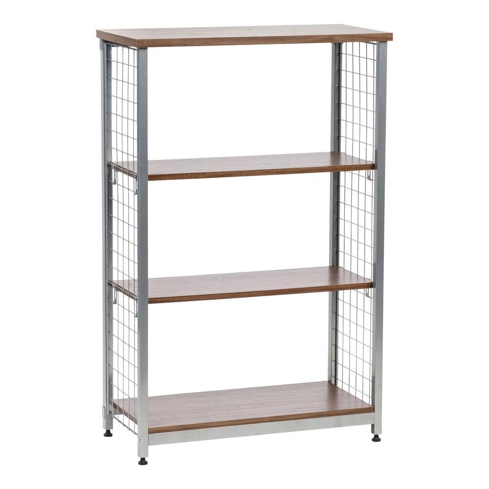 Brown 3-Tier Wide Open Mesh Wood-Top Shelf