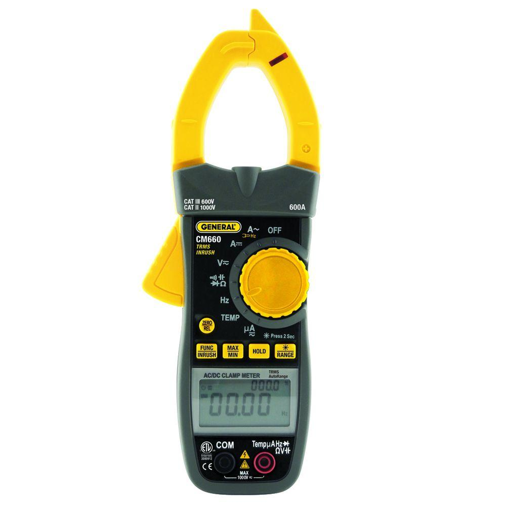 General Tools Heavy Duty Auto Ranging True RMS AC/DC Clamp Meter with NCV Detection