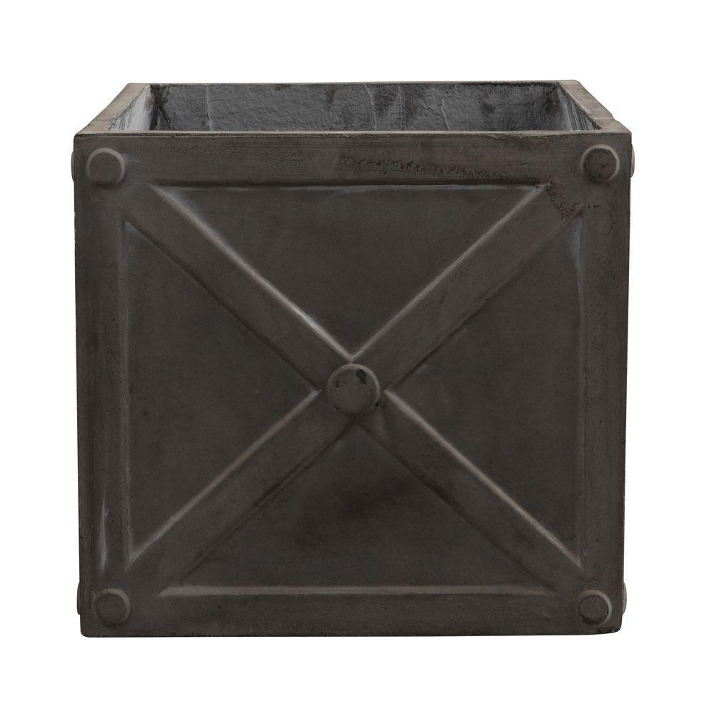 17 in. W Fiberglass Resin Napoli Graphite Cube Planter