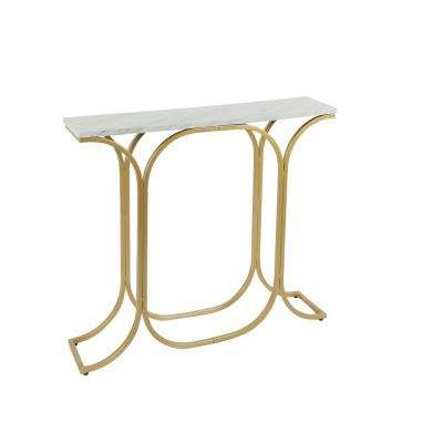 Suzanne Gold and Faux Marble Slim Console Table