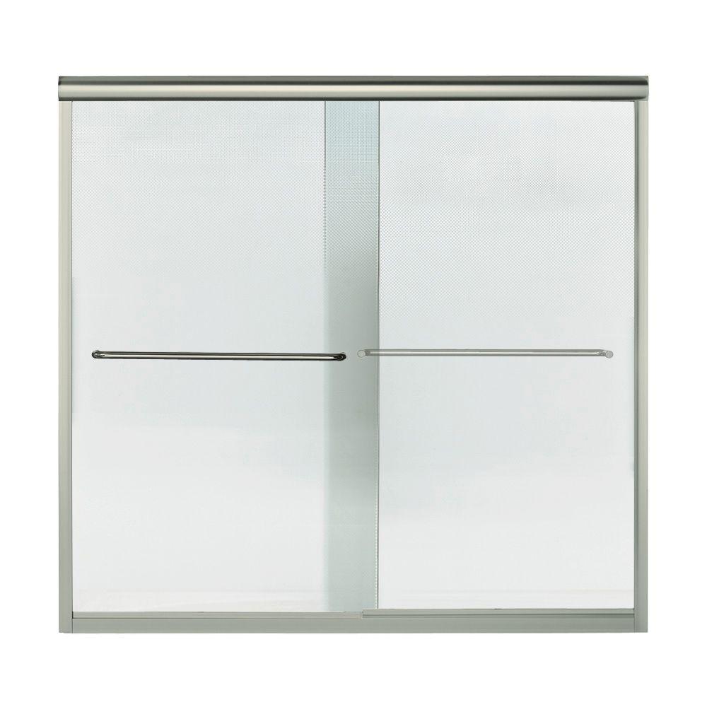 Finesse 59-5/8 in. x 58-5/16 in. Semi-Frameless Sliding Bathtub Door in Nickel with Handle