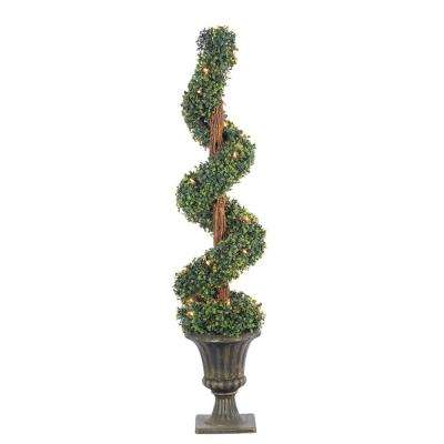 4 ft. Pre-Lit Potted Boxwood Spiral Artificial Christmas Tree