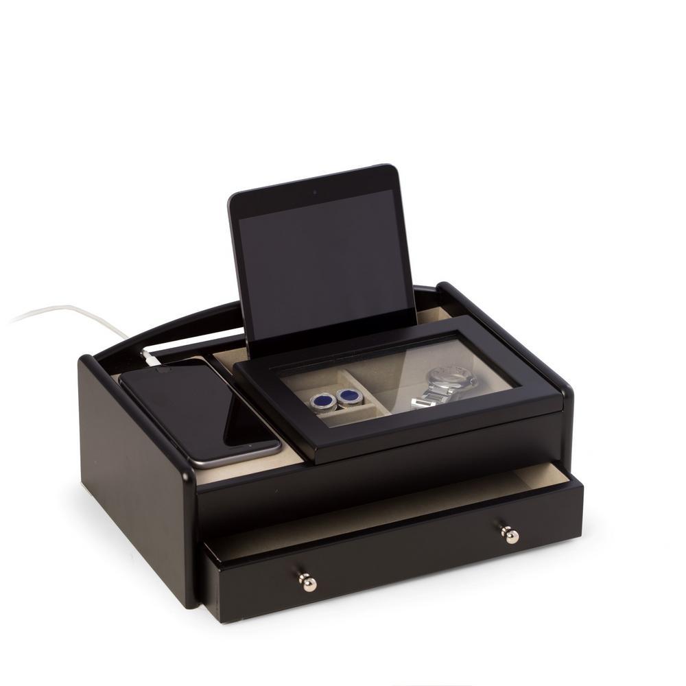 11.25 in. D x 4 in. H x 7.5 in. W Wood Storage/ Valet in Black